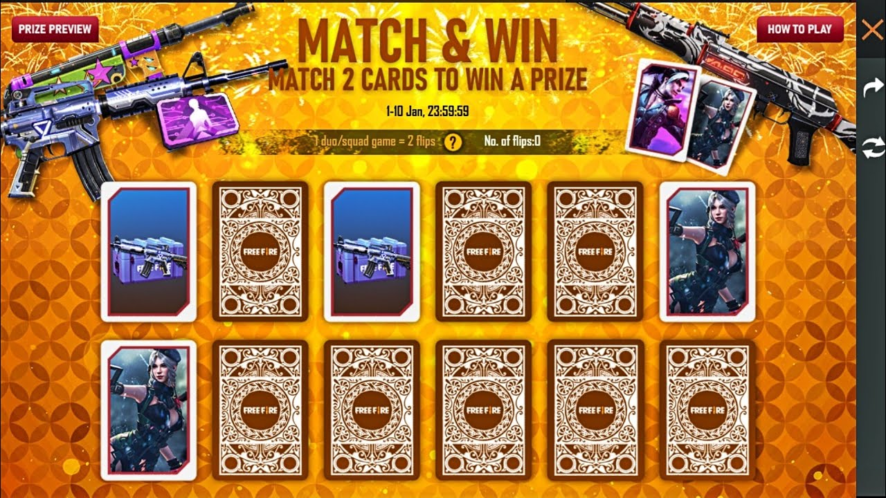 How To Complete Match & Win Event in Just 2 Days? || Free Fire New Match 2 Cards To Win A Prize