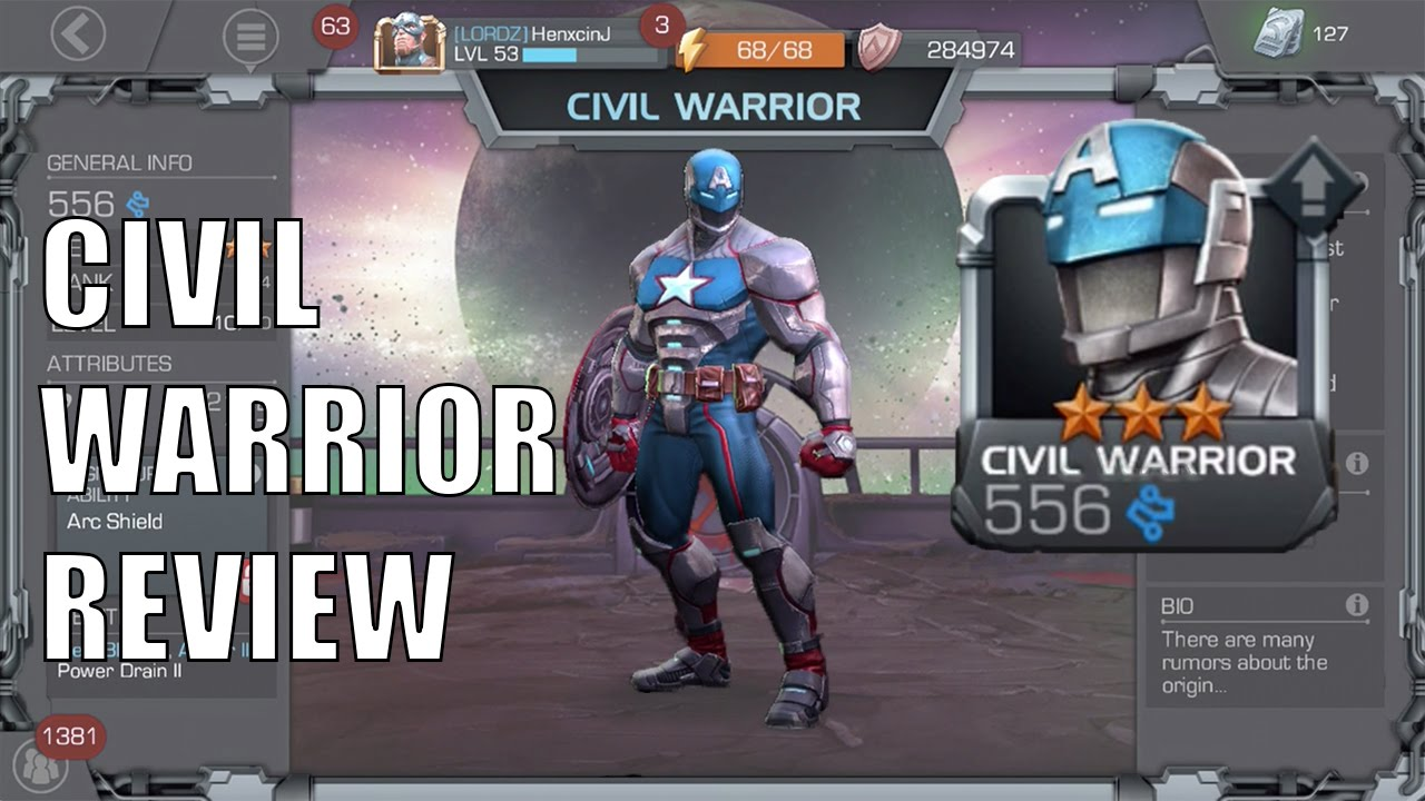 Marvel Contest Of Champions Civil Warrior Review Youtube