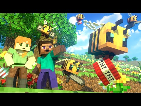 BEES FIGHT – Alex and Steve Life (Minecraft Animation)