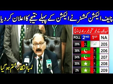 Chief Election Commissioner announces first unofficial result | 25 July 2018 | Dunya News