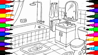 Coloring Pages Bathrooms l Bath Tub l Toilet Drawing Pages To Color For Kids l Learn Rainbow Colors