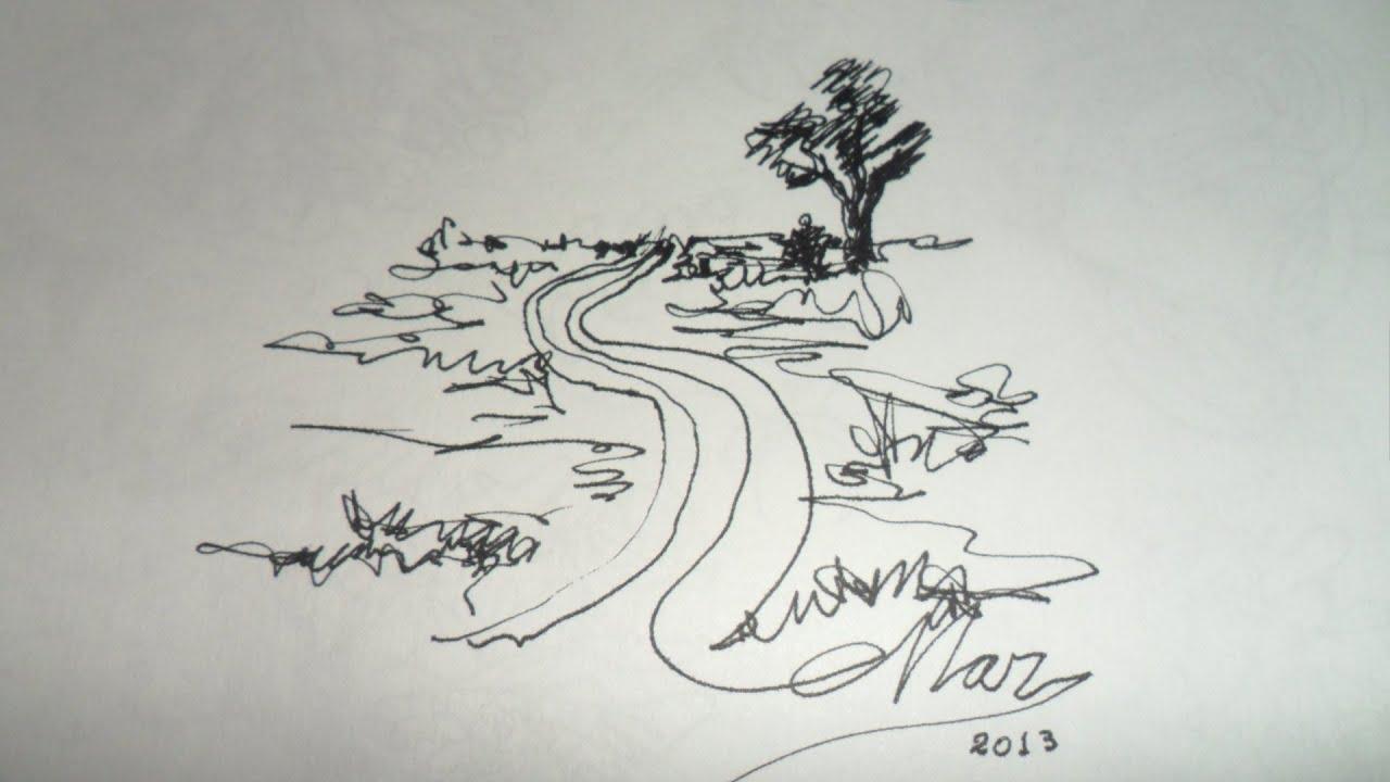 Dibujo De Lineas Paisaje: DIBUJOS CON UNA SOLA LINEA. PAISAJE