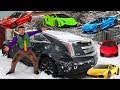 Mr. Joe On Cadillac CTS-V Found A LOT OF Toy Cars Lamborghini & Ferrari & Honda In Trunk For Kids