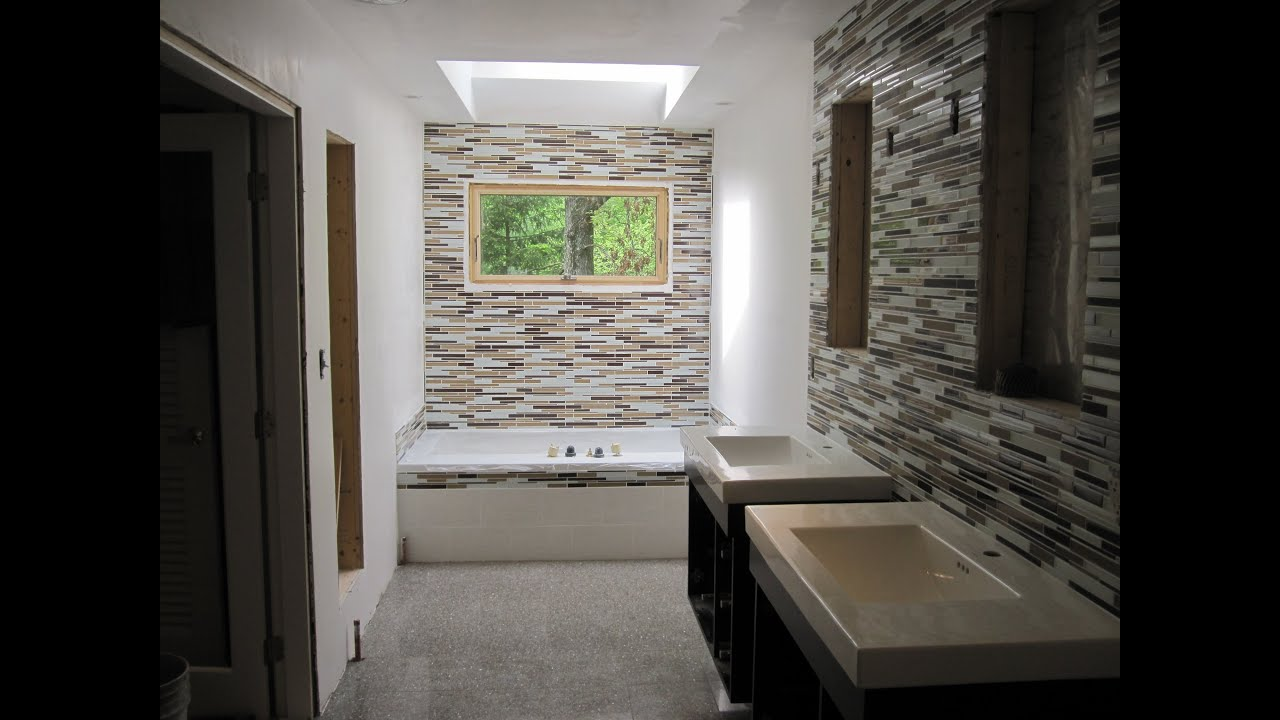 Master Bathroom with Glass tile and ceramic tile - YouTube