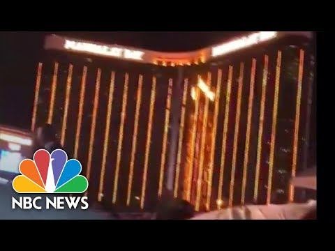 Chilling Moment Multiple Gunshots Ring Out From Las Vegas Hotel | NBC News