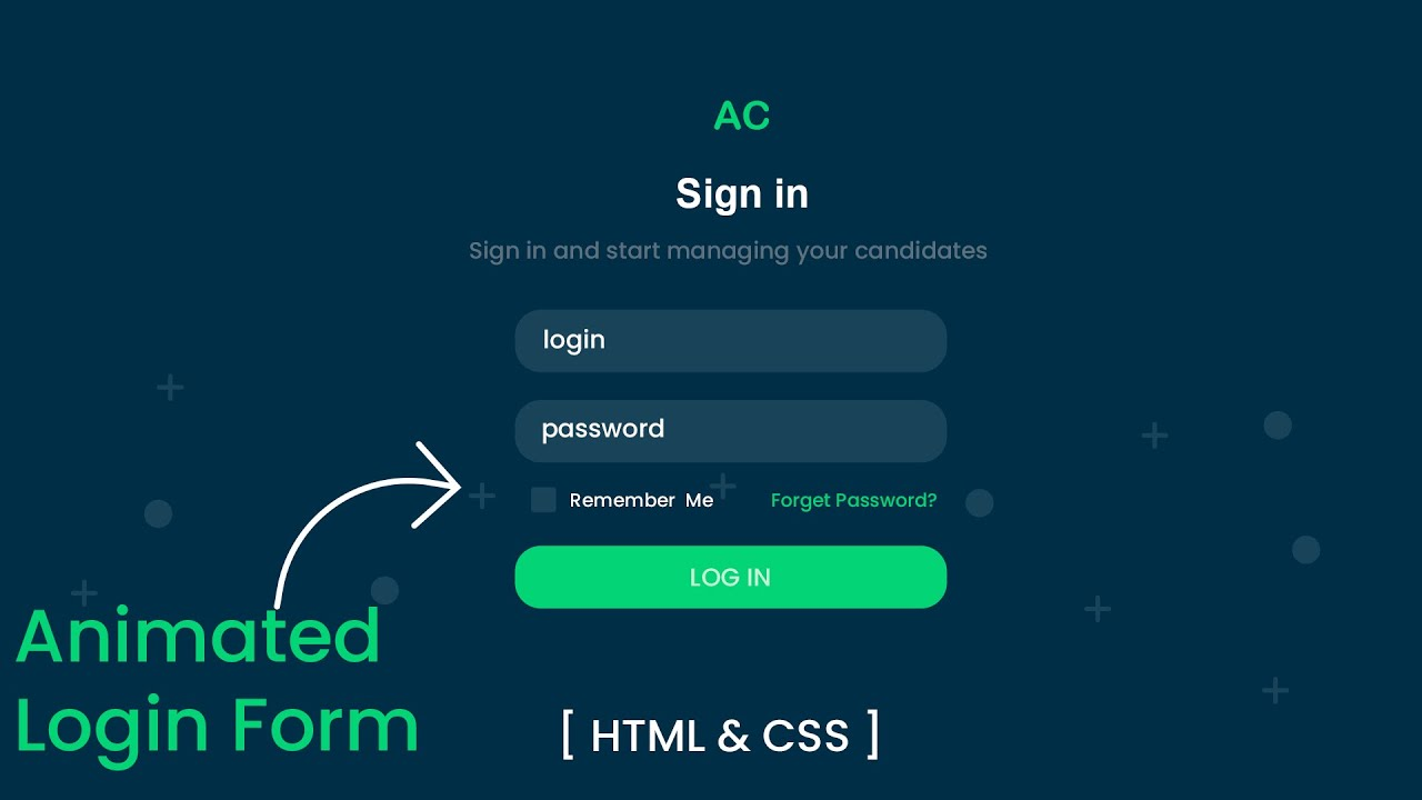 Animated Login Form Using HTML & CSS | Login Form Design HTML CSS