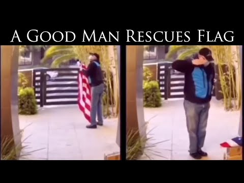 Man Rescues Fallen USA Flag while delivering packages (sound on!)