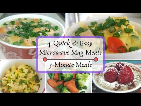 4 Microwave Mug Meals | Easy 5 Minute Meals In Microwave (Breakfast, Lunch, Dinner And Dessert)