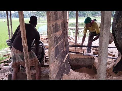Belt, Bamboo, Fume Old Machine Cutting Wood at Sawmill।Dangerous Black Belt Machine Cutting Wood