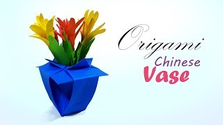 Origami Chinese Flower Vase ✿ How to make a paper  chinese vase  for beginners & kids - Paper Work
