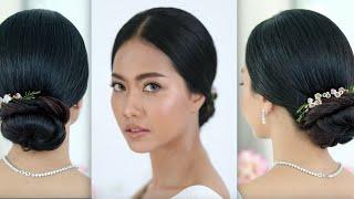 Easy Wedding Hairstyle, Elegant Hairstyle, Low Bun Hairstyle ทรงผมเจ้า แบบง่ายๆ โดย ครูหญิง ภัครา