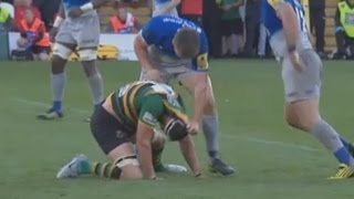 Owen Farrell is not pleased by late tackle. [Northampton vs Saracens '15]