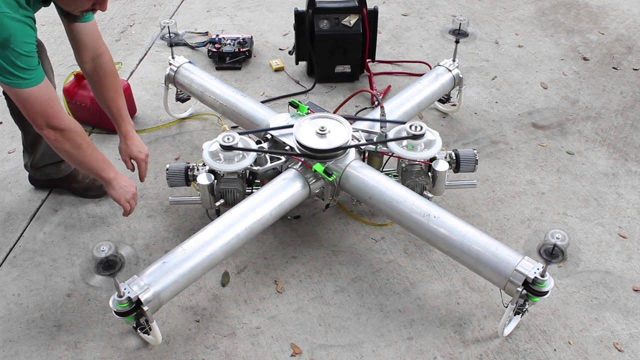 Квадрокоптер с бензиновым двигателем