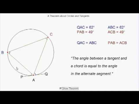 Circle Theorems - Alternate Segment Theorem (worked solutions