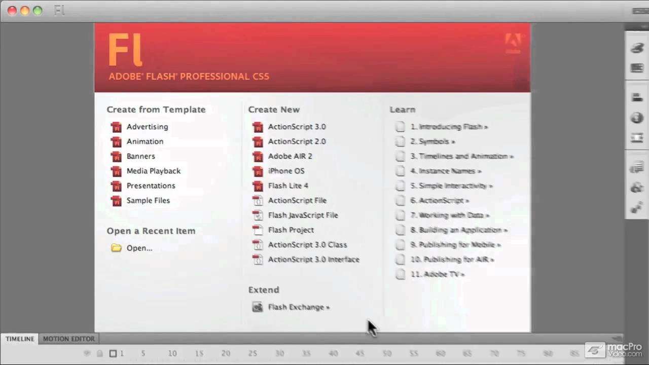 3. a look at the welcome screen - flash cs5 101: core flash cs5, Presentation templates
