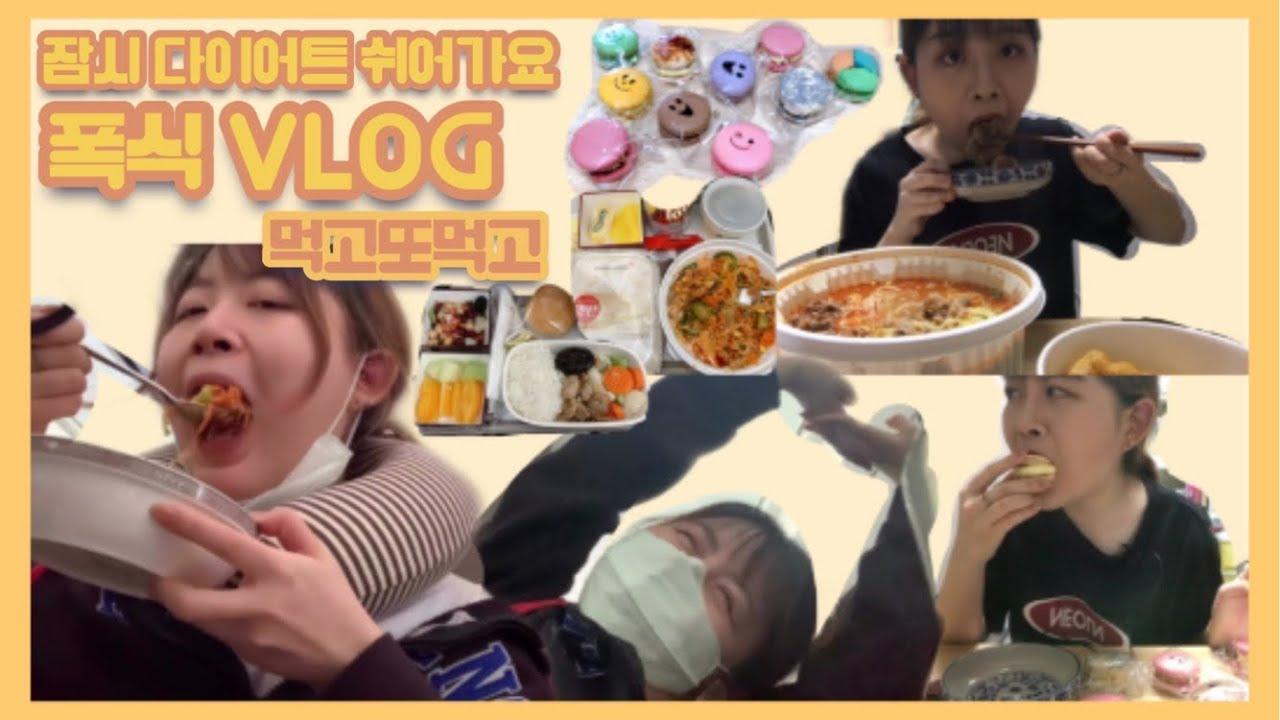 [먹방] 다이어트 잠시 쉬어가는 폭식 브이로그_ 한국에 먹으러 왔니  기내식 . 마카롱•뚱카롱 . 마라탕+꿔바로우(스트리밍편집본) . 과일 