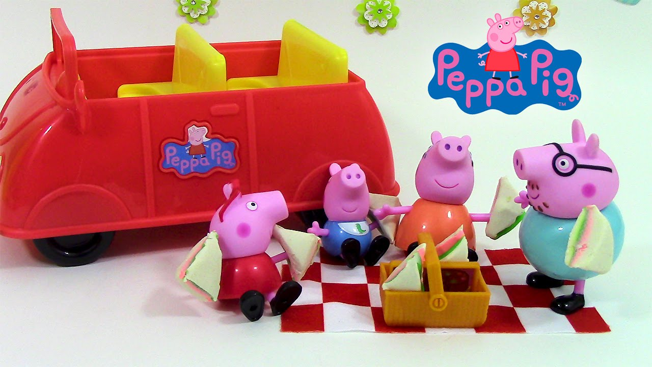 peppa pig en fran ais voiture de pique nique picnic adventure car jouets youtube. Black Bedroom Furniture Sets. Home Design Ideas