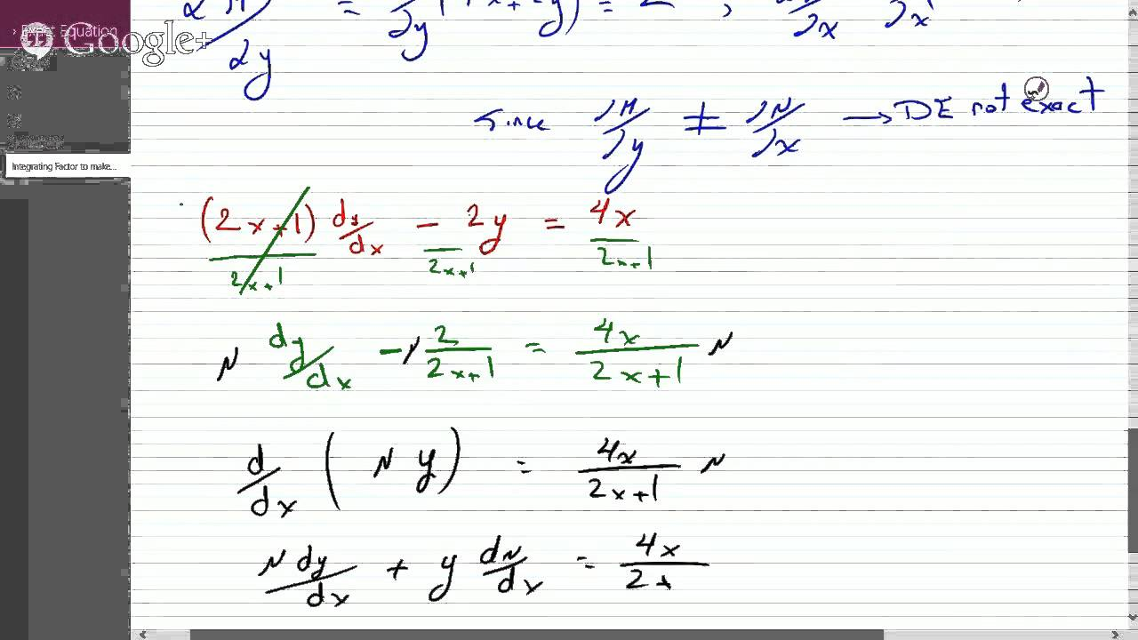 non exact differential equation integrating factor pdf
