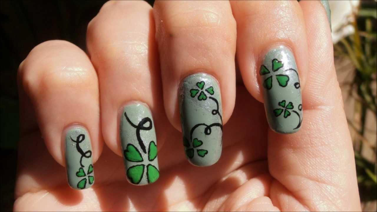 Four Leaf Clover Nail Art Quadrifoglio Youtube