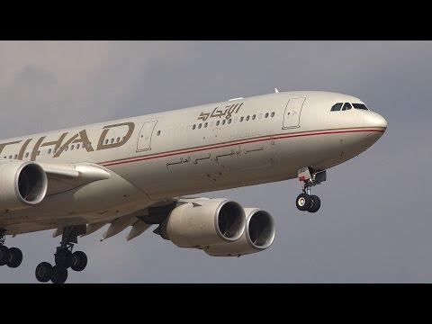 Etihad Airways Airbus A340-500 A6-EHD Landing at NRT 16R