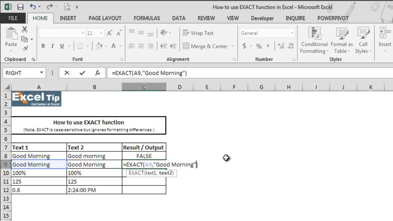 How to use EXACT function in Excel