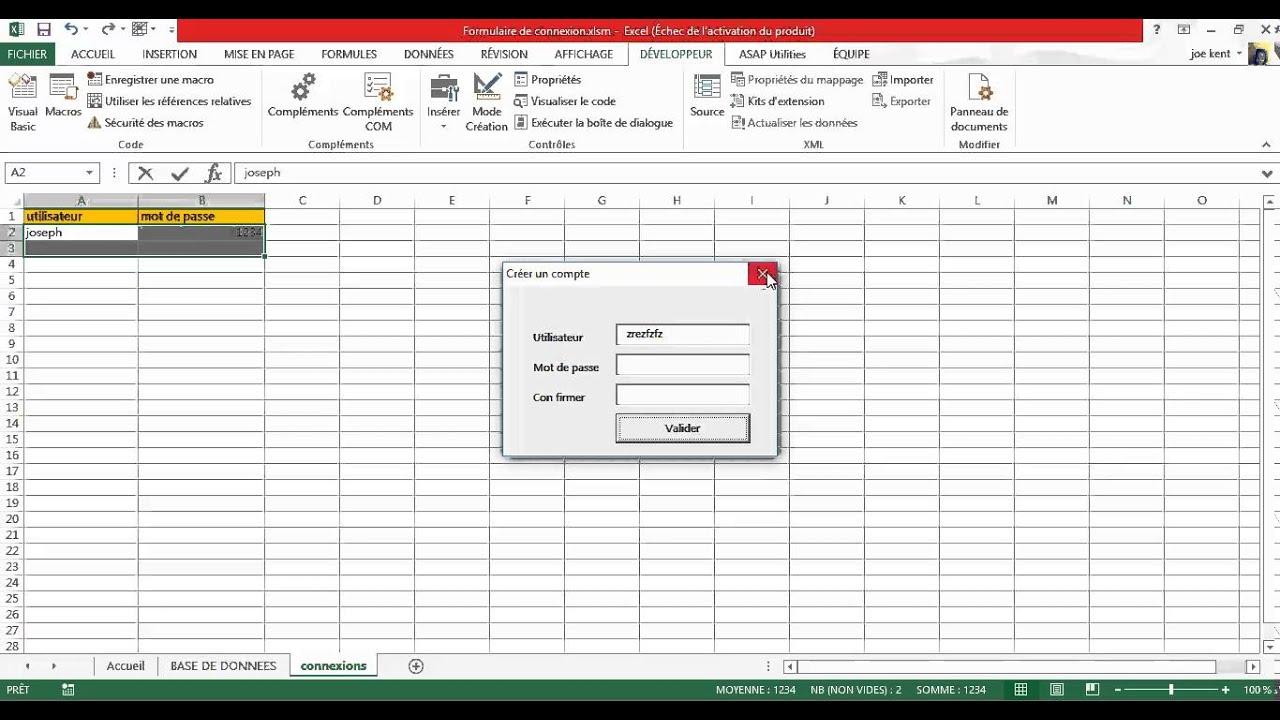 Excel Vba Formulaire de Connexion et création de compte - YouTube