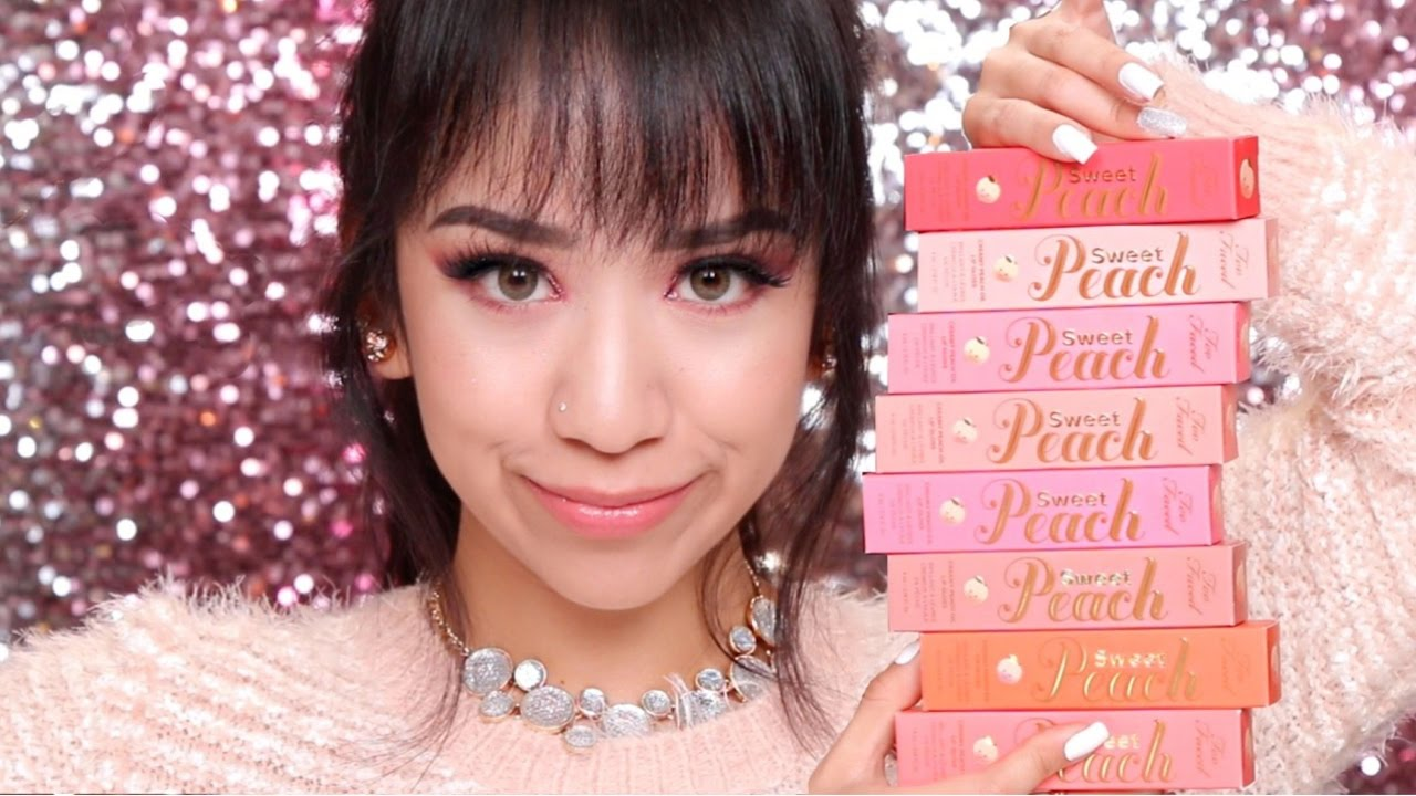 Too Faced Sweet Peach Lip Glosses | Lip Swatches + Review ...
