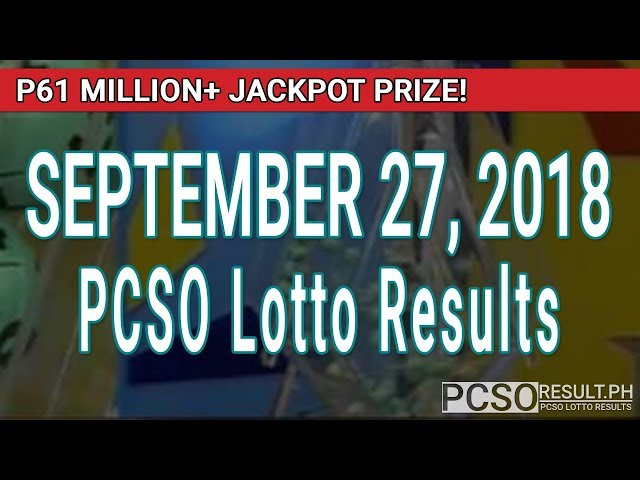 PCSO Lotto Results Today September 27, 2018 (6/49, 6/42, 6D, Swertres, STL & EZ2)