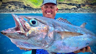 Monster DOG TOOTH TUNA {Catch Clean Cook} Traditional Island Smoked Fish (Coconut Smoke)