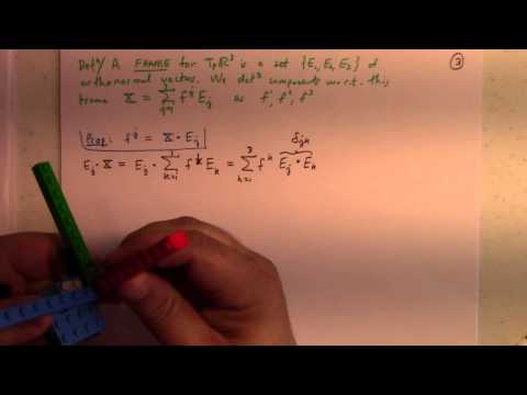 Differential Geometry: Lecture 5 part 1: frames and components in R3