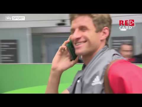 Thomas Muller uses his passport as mobile phone to avoid interviews