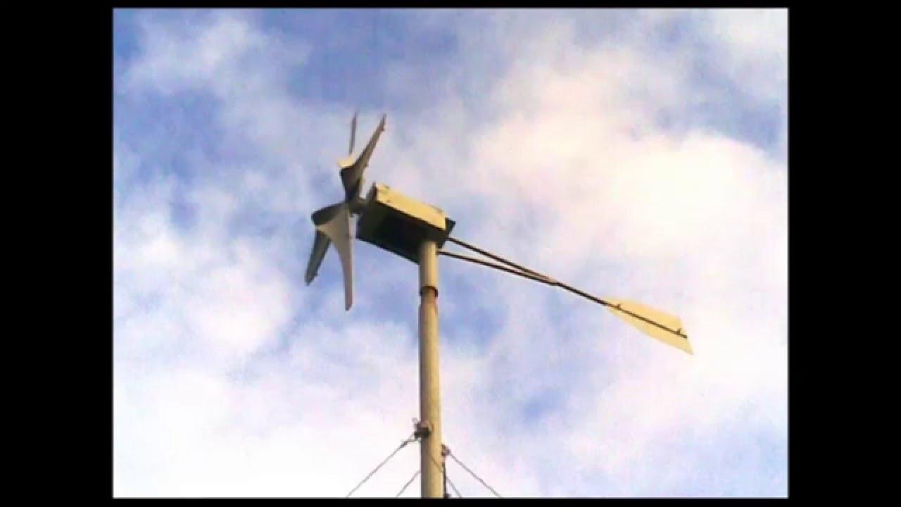 Ветрогенератор из коллекторного двигателя Лопасти из трубы ПВХ