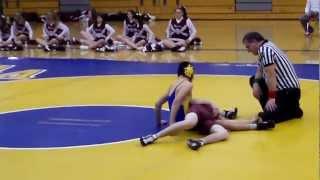 Inverted triangle choke in a wrestling match.