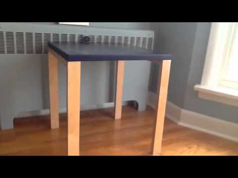 Dark Cobalt Blue table with natural legs