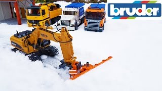 BRUDER toys SNOW in the bruder world - excavator with plow!