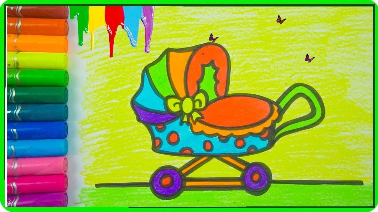 Wie Man Lustige Kinderwagen Für Kinder Malt Und Färbt Farben Lernen Für Kleinkinder Deutsch