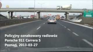 Policyjny oznakowany radiowóz Porsche Carrera S 911 - Polska, Poznań   Польская машина полиции