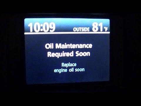2010 Toyota Highlander Reset Oil Maintenance Notification