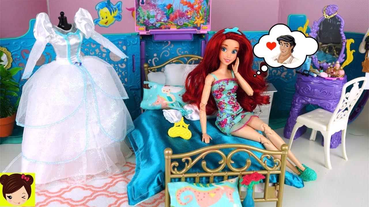 Barbie Ariel Rutina de Mañana con Vestido de Novia en Dormitorio de ...
