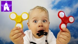 Funny Alex Playing and Learns Colors with Fidget Spinner. Learn colours for Kids