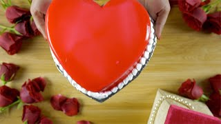 Top view of a yummy red cake, a symbol of love for Valentine's day theme in India