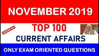 November 2019 Top 100 Current Affairs Full Month November Current Affairs 🔥🔥 Top 100