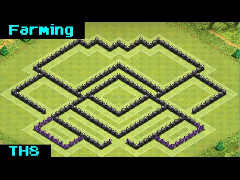 Clash of clans best th8 trophy war base replay barricade 2014