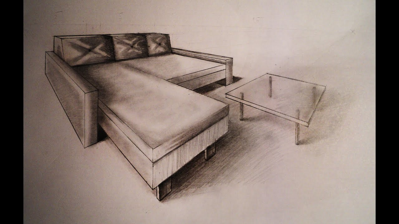 One Point Perspective Couch