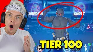 Buying *ALL 100 TIERS* in Season 2 Battle Pass in Fortnite... (all emotes & skins)