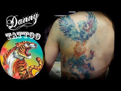 Fênix Cosmos em aquarela - Danny Tattoo (Phoenix Watercolor Cosmos)