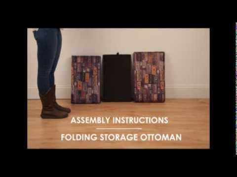 Folding Storage Ottoman assembly video