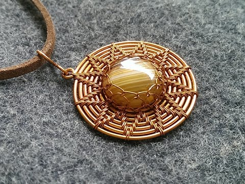 Sun pendant with stone no holes - Wire wrapped stones ideas 233