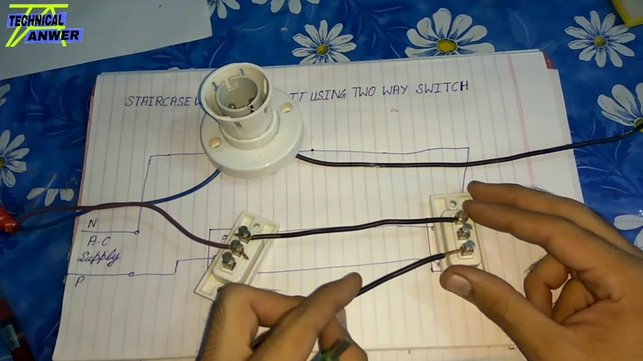 two way switch staircase wiring circuit using two way switch zaid anwer [ 1280 x 720 Pixel ]