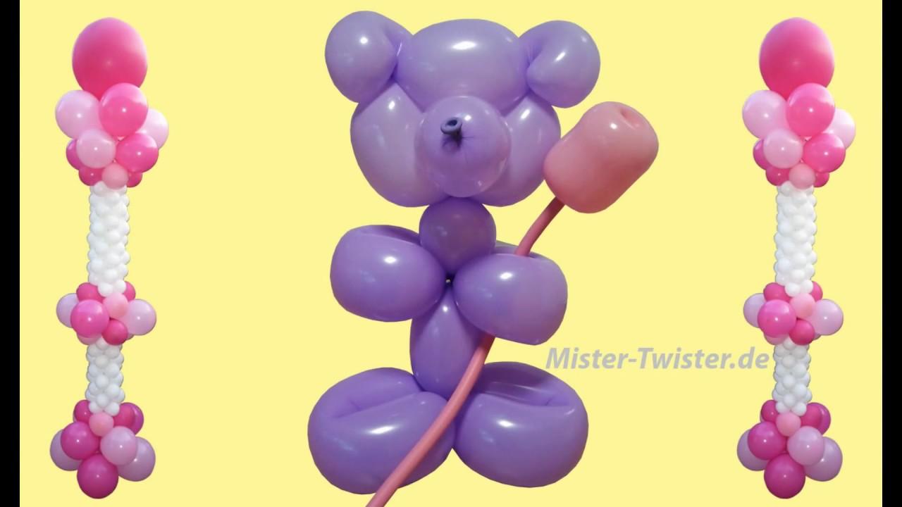 Ballon Teddy Mit Blume Balloon Teddy With Flowers Modellierballon Ballonfiguren